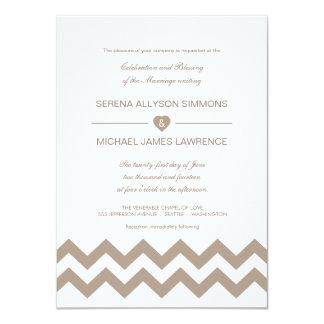 Invitaciones blancas y de color topo del boda de invitación 11,4 x 15,8 cm