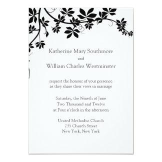 Invitaciones blancas y negras del boda invitación 12,7 x 17,8 cm