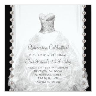 Invitaciones blancos y negros de Quinceanera Invitación 13,3 Cm X 13,3cm