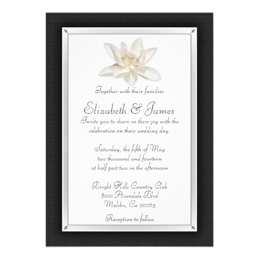 Invitaciones blancos y negros del boda invitacion personalizada