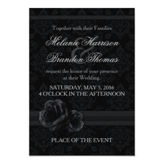 Invitaciones blancos y negros del boda con RSVP Invitación 12,7 X 17,8 Cm