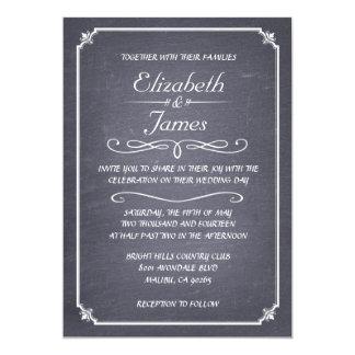 Invitaciones blancos y negros del boda de la invitación 12,7 x 17,8 cm