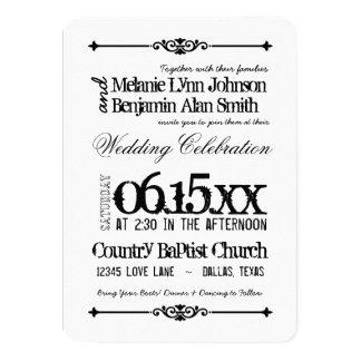 Invitaciones blancos y negros del boda de la invitación 11,4 x 15,8 cm