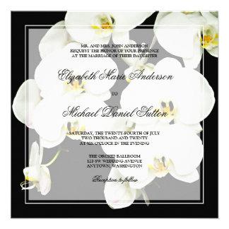 Invitaciones blancos y negros del boda de la orquí invitaciones personalizada