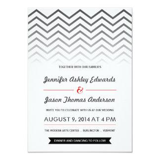 Invitaciones blancos y negros del boda de Ombre Invitación 11,4 X 15,8 Cm