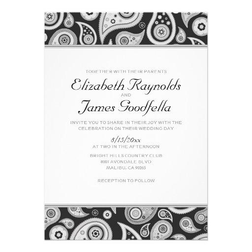 Invitaciones blancos y negros del boda de Paisley Anuncios Personalizados