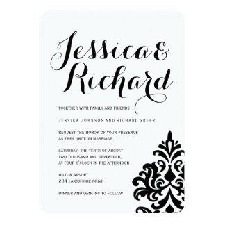 Invitaciones blancos y negros del boda del damasco invitación 12,7 x 17,8 cm