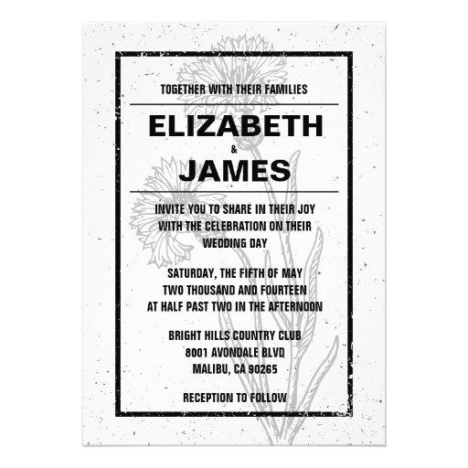 Invitaciones blancos y negros del boda del vintage anuncios personalizados