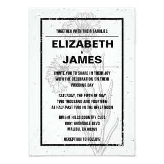 Invitaciones blancos y negros del boda del vintage invitación 12,7 x 17,8 cm