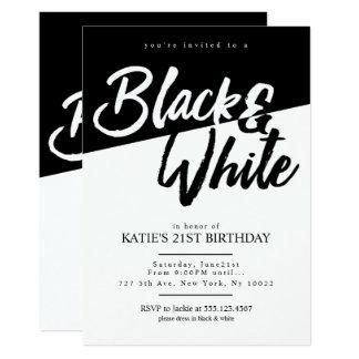 Invitaciones blancos y negros del fiesta del invitación 12,7 x 17,8 cm