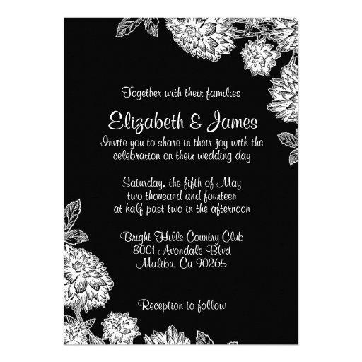 Invitaciones blancos y negros elegantes del boda comunicado