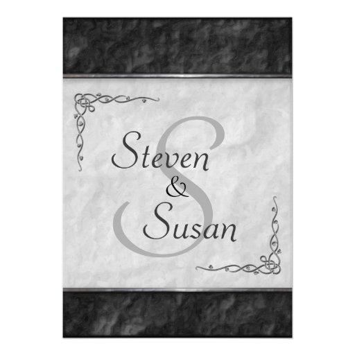 Invitaciones blancos y negros elegantes del boda anuncio personalizado