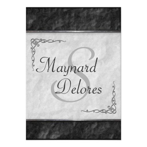 Invitaciones blancos y negros elegantes del boda invitación personalizada
