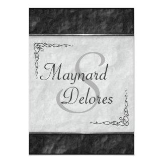 Invitaciones blancos y negros elegantes del boda invitación 12,7 x 17,8 cm