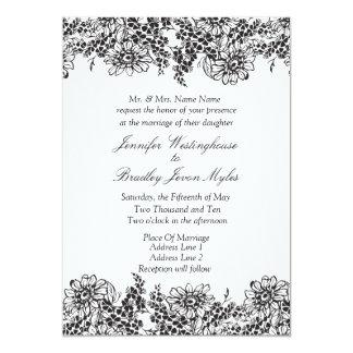 Invitaciones blancos y negros florales del boda invitación 12,7 x 17,8 cm