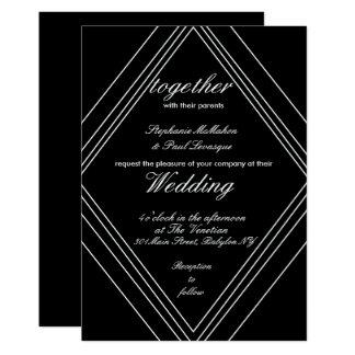 Invitaciones blancos y negros modernas del boda invitación 12,7 x 17,8 cm