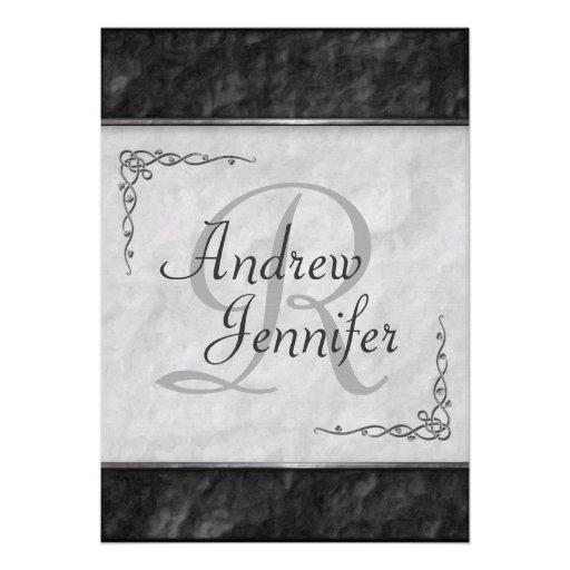 Invitaciones blancos y negros superiores del boda invitacion personal