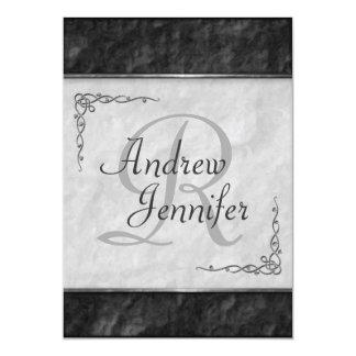 Invitaciones blancos y negros superiores del boda invitación 12,7 x 17,8 cm