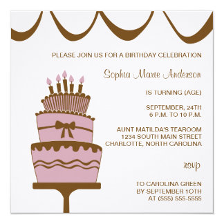 Invitaciones bonitas del fiesta de la torta de invitación 13,3 cm x 13,3cm