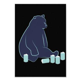 Invitaciones borrachas del oso invitación 8,9 x 12,7 cm