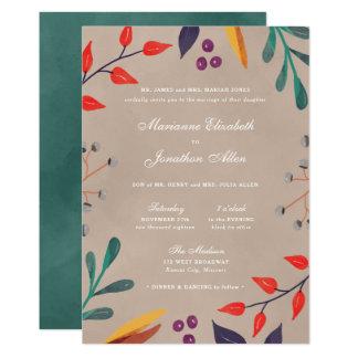 Invitaciones botánicas rústicas del boda de la