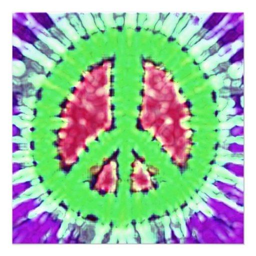 Invitaciones brillantes del signo de la paz del te comunicados