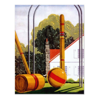 Invitaciones casuales del césped del croquet de la invitación 10,8 x 13,9 cm