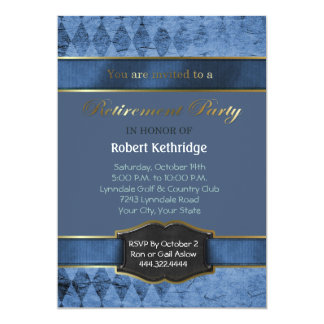 Invitaciones clásicas azules del fiesta de retiro invitación 12,7 x 17,8 cm