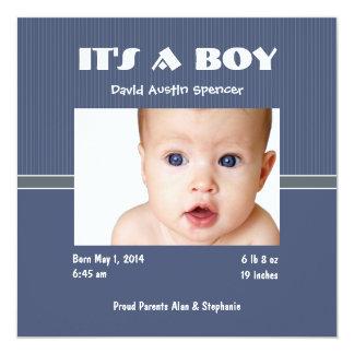 Invitaciones clásicas del nacimiento de la foto invitación 13,3 cm x 13,3cm