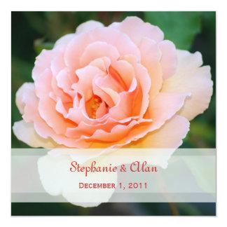 Invitaciones color de rosa perfectas del boda de comunicado personalizado