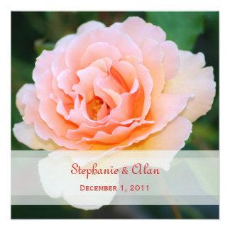 Invitaciones color de rosa perfectas del boda de l comunicado personalizado