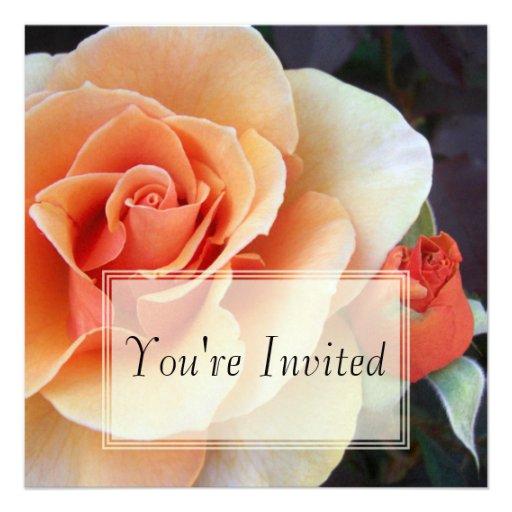 Invitaciones color de rosa y del capullo de rosa invitación personalizada