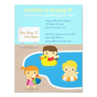 Invitaciones coloridas de la fiesta en la piscina invitaciones personales
