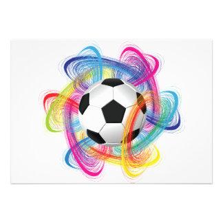 Invitaciones coloridas del balón de fútbol comunicados personalizados