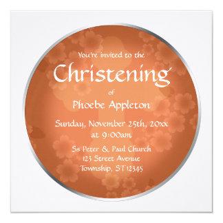 Invitaciones coralinas del bautizo de la filigrana invitación 13,3 cm x 13,3cm