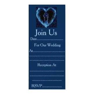 Invitaciones: Corazón azul del fuego Invitación 10,1 X 23,5 Cm