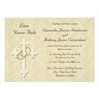 Invitaciones cristianas del boda de los anillos de