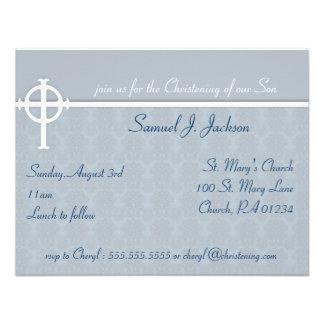 Invitaciones cruzadas azules del bautizo comunicados personales
