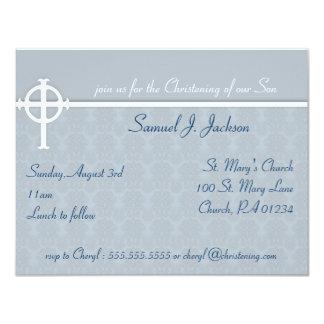 Invitaciones cruzadas azules del bautizo invitación 10,8 x 13,9 cm