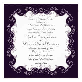 Invitaciones cuadradas púrpuras de color violeta o invitaciones personalizada