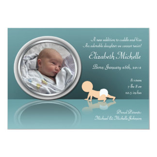 Invitaciones de arrastre del nacimiento de la invitación 12,7 x 17,8 cm