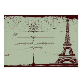 Invitaciones de boda de RSVP de la torre Eiffel Invitación 8,9 X 12,7 Cm