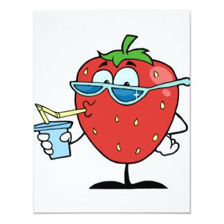 Invitaciones de consumición de la fresa invitación 10,8 x 13,9 cm