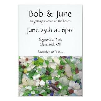 Invitaciones de cristal del boda de la playa invitación 8,9 x 12,7 cm