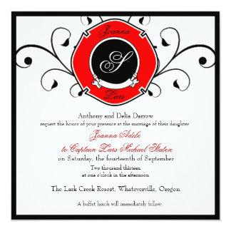 Invitaciones de encargo del boda del bombero invitación 13,3 cm x 13,3cm