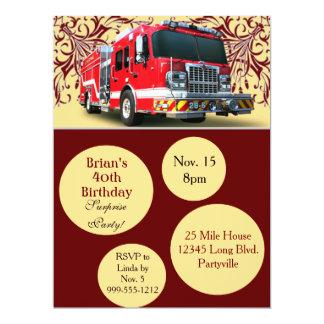 Invitaciones de encargo del cumpleaños del bombero invitación 16,5 x 22,2 cm