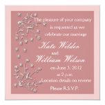 Invitaciones de encargo rosadas oscuras del boda invitación 13,3 cm x 13,3cm