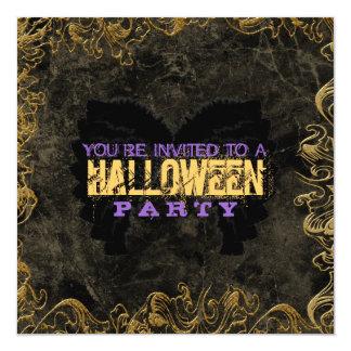 Invitaciones de Halloween del marco del oro Invitación 13,3 Cm X 13,3cm