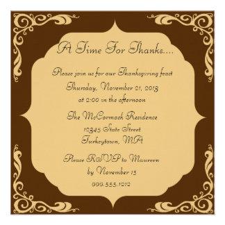 Invitaciones de la acción de gracias comunicados personales