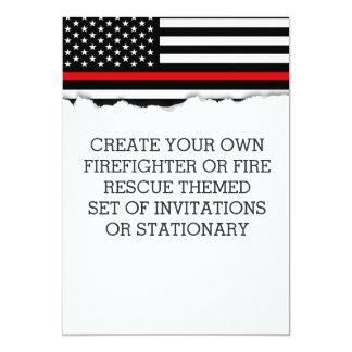 Invitaciones de la bandera temática del bombero o invitación 12,7 x 17,8 cm